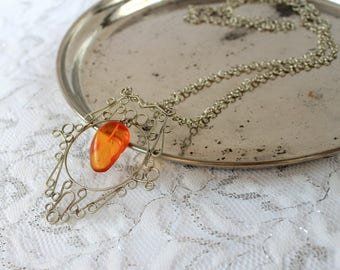 Vintage amber filigree pendant necklace , silver tone metal and butterscotch Baltic amber large pendant with chain