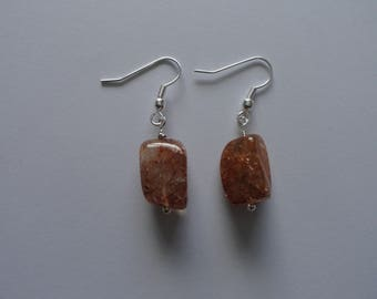 Ice flake quartz pendant earrings on silver plated shepherd hook ear wires