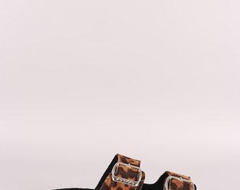 Leopard Suede Open Toe Buckled Cork Footbed Slide Sandal