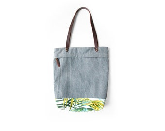 Tote bag with palm leaves pattern, Summer tote bag, big bag, bag for the beach,