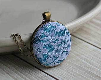 Teal Necklace, Unique Gift For Women, Mom, Teacher, Wife, Floral Lace Bridesmaid Jewelry, Flower Pendant
