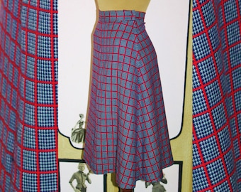 Vintage 1970's Red, White and Blue Check Wool A-Line Skirt. XS to Small