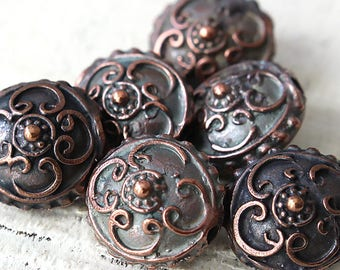 Mykonos Beads - Antiqued Bronze Beads - 15mm Saucer Beads - Jewelry Making Supply - Made In Greece - Choose Amount