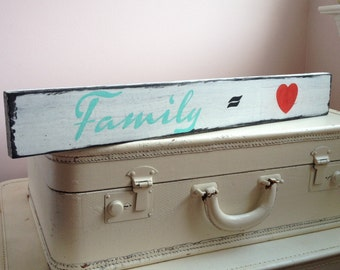 Family Equals Love Wood Sign, Family Is Love Wood Sign, Distressed Wood Sign, Custom Color Family Sign