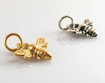 Bracelet Charm, Little Gold Bee Charm, 24k Gold Plated or Sterling Silver Charm, Beekeeper Gift, Save the Bees, Honeybee Bumblee Charm