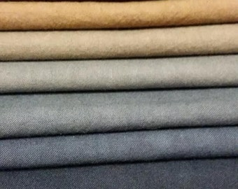 "Hand dyed cotton fat quarters for quilting, gradation of blue to brown, ""Tuolumne River"""