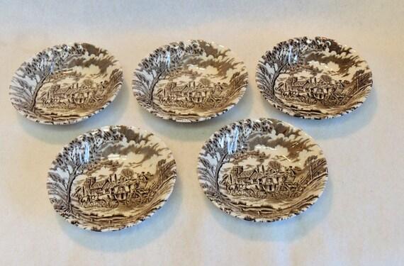 5 Myott Royal Mail Fine STAFFORDSHIRE IRONSTONE Bowls Brown Transferware ENGLAND