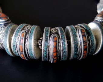 LARGE TIBETAN NECKLACE - with Turquoise and Red Coral from Nepal