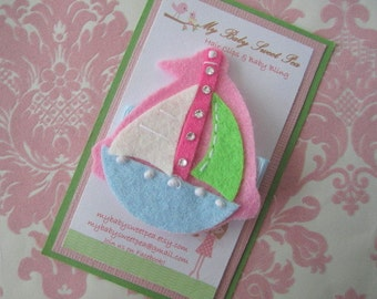 Girl hair clips - boat hair clips - summer hair clips - girl barrettes