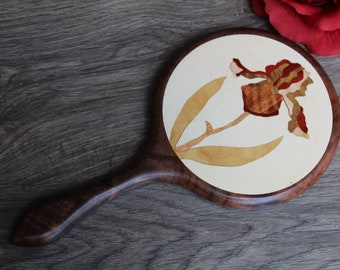 Hand Mirror Marquetry Wood Iris Flower 2 Black Walnut wood Handmade  Made in USA