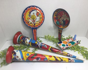 Vintage Party Noise Makers Tin Toys Set of 5