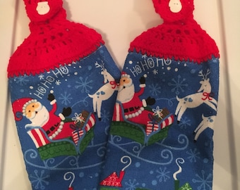 Christmas Crochete Top Towels- Set Of 2