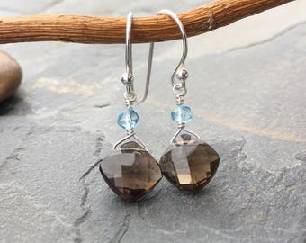 Smokey Quartz and blue topaz earrings in sterling silver