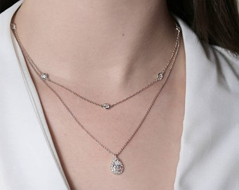 Silver Bridal Necklace, Layered Teardrop Necklace, Dainty Bridal Jewelry, CZ Crystal Jewelry, Wedding necklace, Bridal Jewelry,N052-S