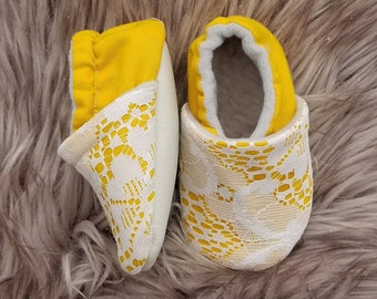 Mustard and Lace Slippers