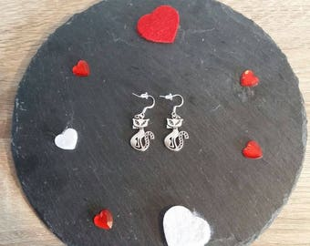 Clearance silver cat earrings