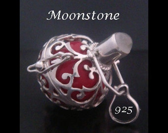 Harmony Ball Bola Necklace with MOONSTONE Gemstone and Red Chime Ball in a 925 Sterling Silver Cage | Pregnancy Gift, Angel Caller 451