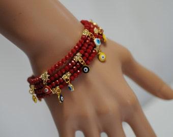 Evil Eye, Dangle Evil Eye Bracelet, Red Crystal Evil Eye, Stretch Evil Eye Bracelet, Gift for her, Good luck charm, Valentines gift