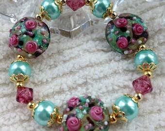 Beaded Lampwork Bracelet Flowers and Aqua Pearls-