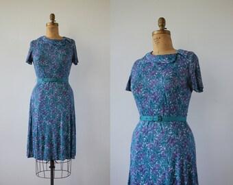 vintage 1950s 1960s dress / 50s day dress / 50s nylon jersey dress / 50s blue purple floral dress / 60s day dress / medium