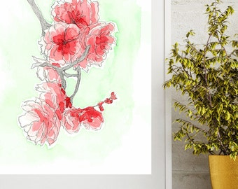 Watercolor Cherry Blossom, Pink and Green, Instant Download Art Print,  Minimal, 8x10