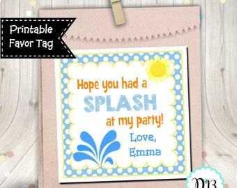 Had A Splash At My Party Pool Party Favor Birthday Favor Tag Square Tag Digital Printable