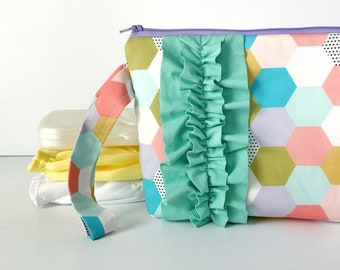 diaper and wipes clutch -- MP spring hexies