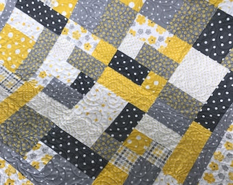 Yellow and gray Adorable Flannel gender neutral Baby Quilt Boy quilt Girl Quilt