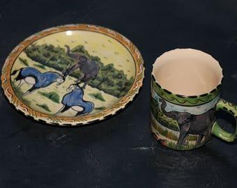 African Pottery Plate and Mug