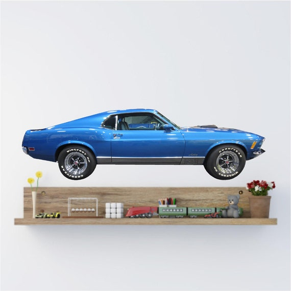 oldtimer aufkleber 1970 blau mustang ford mustang mach 1. Black Bedroom Furniture Sets. Home Design Ideas