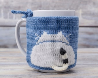 Kitty lover gift, Cat butt, Coffee cozy, Home accent decor, Mug sweater, Tea sleeve,  Cup warmer, Knit cozy,  Hot drink, Blue gift, Kitten