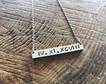 Personalized Jewelry - Hand Stamped Bar Necklace - Gift For Her