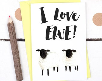 I Love Ewe You Card - Valentine's card - Valentine's card for boyfriend - Card for Husband - Funny Anniversary Card - Sheep Lover Card