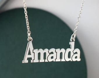 Custom necklace, name necklace, Amanda, Valentines day, Silver necklace, personlized necklace,