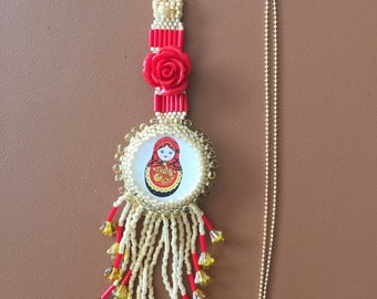 Matryoshka necklace set with Delica beads