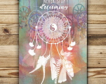 """greeting card illustration """"Dreamcatcher"""" French design with message """"Never stop dreaming"""" FSC paper"""