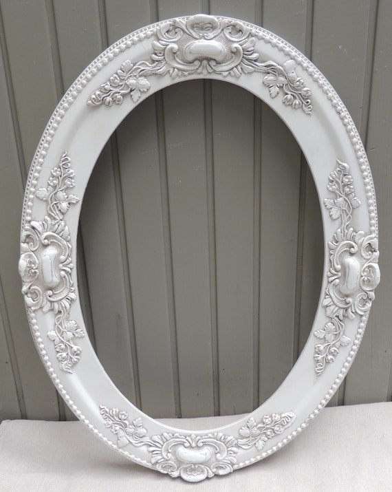Antique White Oval Picture Frame, 14x20 Oval Frame, 14 x 20 White ...