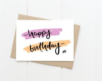 Happy Birthday Greeting Card, Pop Art Purple Orange Blank Card