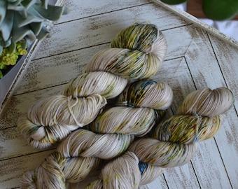 "Fingering Weight, Van Gogh Series: ""Courtyard of the Hospital in Arles"", Superwash Merino Nylon Blend, Hand Dyed Yarn, Sock Weight, 100g"