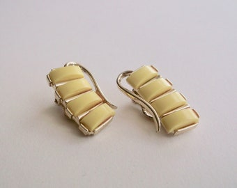Vintage Gold Toned and Yellow Clip Earrings