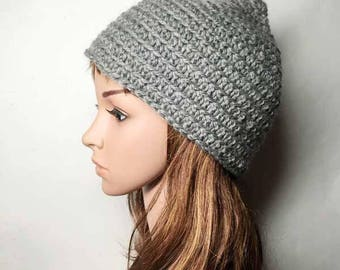 Grey ANNA Crocheted Hat - Hand Made Crocheted Hat - Grey Beanie Hat - Woman Hat - Man Hat - Ready To Ship