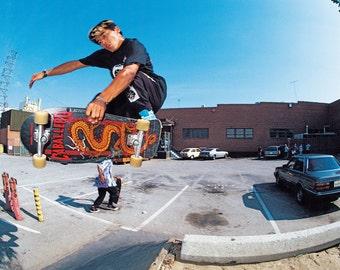 Steve Caballero LAX Banks Skateboarding Photo 18 x 24 Inch - 80s Skate Photo