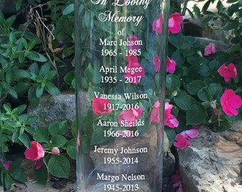 In Loving Memory Vase - Memorial Vase -Floating Wedding Memorial Candle - Memorial Candle - Engraved Memorial Cylinder - Names and Dates