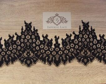 Black  lace, Alencon Lace Trimming, Spanish style lace trim, MM00023