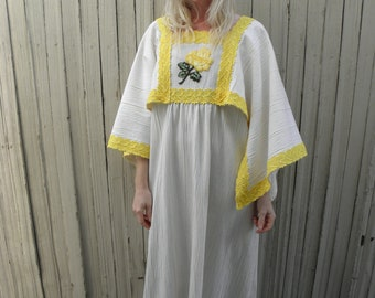 Mexican Dress- Angel Sleeve Dress- 1970s Maxi Dress- Hippie Clothing- Yellow Lace- Bohemian Clothes- Boho Non- Traditional Wedding Dress