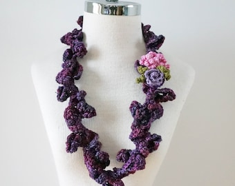Peony Rose necklace scarf, purple necklace scarf with peony rose brooch, Small accent scarf, perfect any season accent scarf, infinity