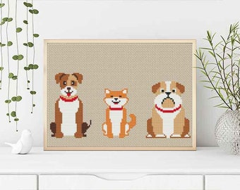 PATTERN: Dogs (2), Set of 3, Modern Cross Stitch Pattern, Cute Cross Stitch Pattern, Instant Download PDF