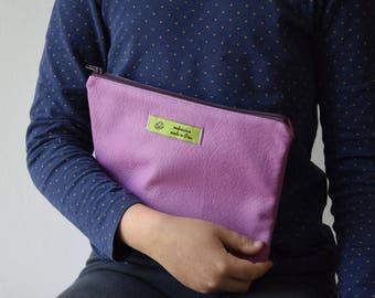 clutch faux leather / printed geometric yellow-orange-purple