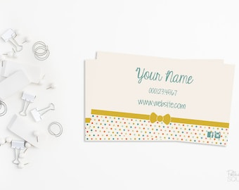 Pastel business card etsy printable business card design polka dot business card dot business card cute business card bow business card pastel blue and yellow colourmoves