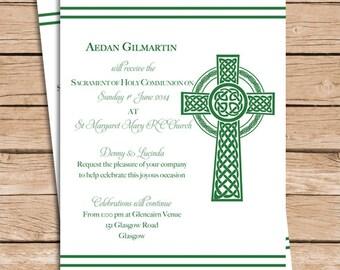 Celtic Baptism Invitation Christening Invitation or Communion Invitation
